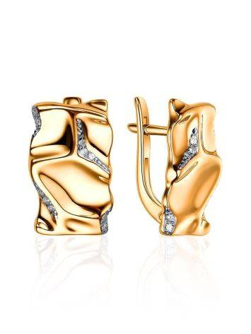 Chic Gold Plated Earrings With Crystals, image