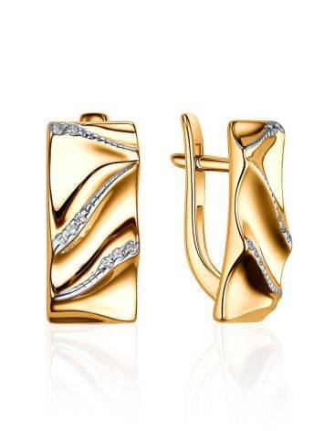 Luminous Gold Plated Earrings With Crystals, image
