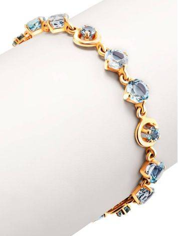 Wonderful Golden Link Bracelet With Topaz, image , picture 3