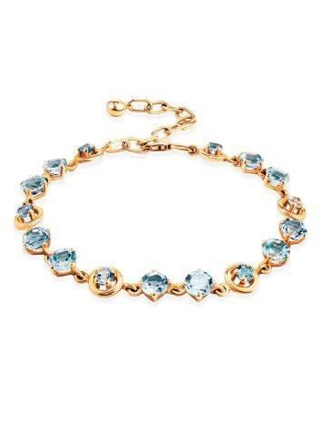 Wonderful Golden Link Bracelet With Topaz, image
