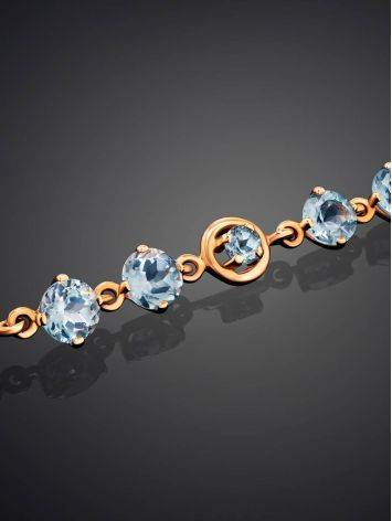 Wonderful Golden Link Bracelet With Topaz, image , picture 2