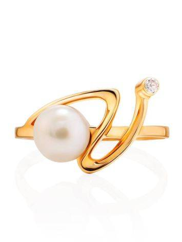 Twisted Golden Ring With Pearl And White Crystal, Ring Size: 7 / 17.5, image , picture 3