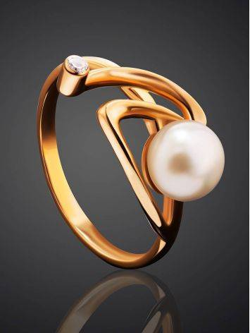 Twisted Golden Ring With Pearl And White Crystal, Ring Size: 7 / 17.5, image , picture 2
