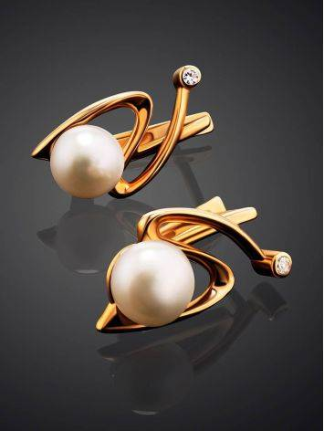 Elegant Golden Earrings With Pearl And Crystals, image , picture 2