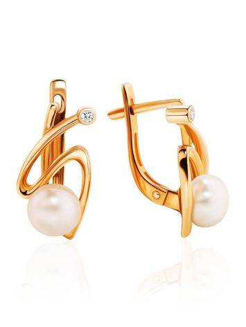 Elegant Golden Earrings With Pearl And Crystals, image