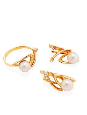 Twisted Golden Ring With Pearl And White Crystal, Ring Size: 7 / 17.5, image , picture 4