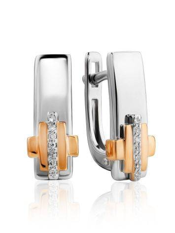 Silver Earrings With Golden Elements And Diamonds The Diva, image