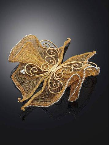 Designer Golden Brooch With Crystals, image , picture 2