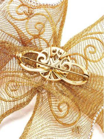 Designer Golden Brooch With Crystals, image , picture 3