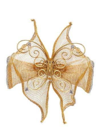 Designer Golden Brooch With Crystals, image