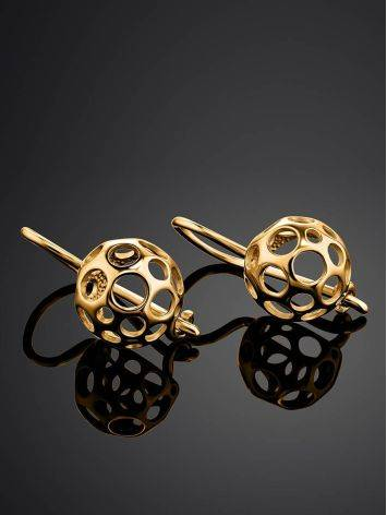 Chiselled Gold Plated Earrings, image , picture 2