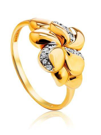 Charming Floral Ring With Crystals, Ring Size: 6 / 16.5, image