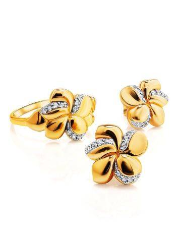 Charming Floral Ring With Crystals, Ring Size: 6 / 16.5, image , picture 3