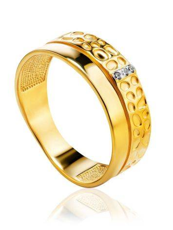 Gold Plated Band Ring With Crystals, Ring Size: 6 / 16.5, image