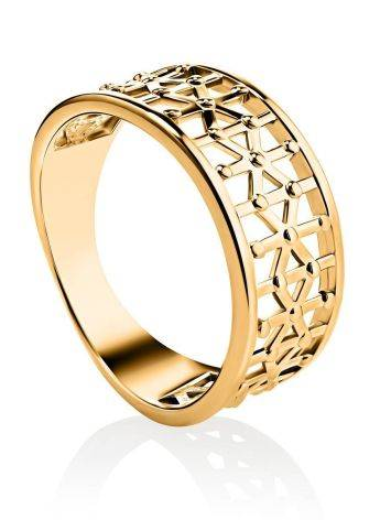 Laced Gold Plated Band Ring, Ring Size: 7 / 17.5, image