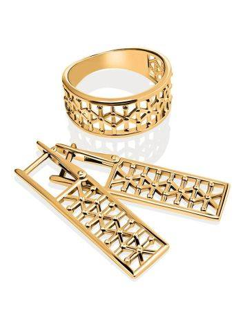 Geometric Gold Plated Earrings, image , picture 3