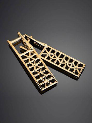 Geometric Gold Plated Earrings, image , picture 2
