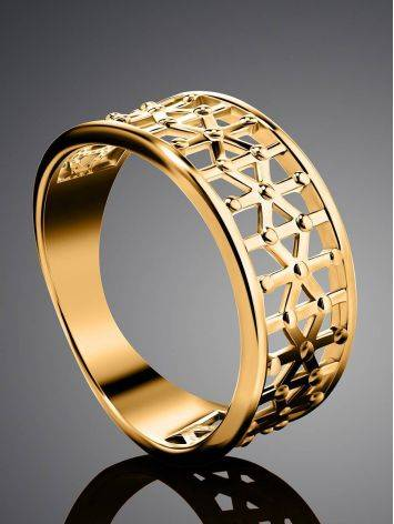 Laced Gold Plated Band Ring, Ring Size: 7 / 17.5, image , picture 2