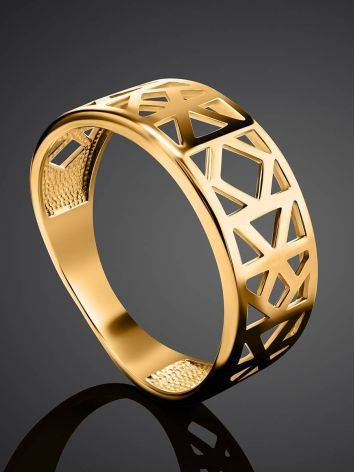 Geometric Gold Plated Ring, Ring Size: 6.5 / 17, image , picture 2