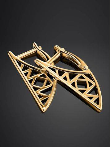 Stylish Geometric Gold Plated Earrings, image , picture 2