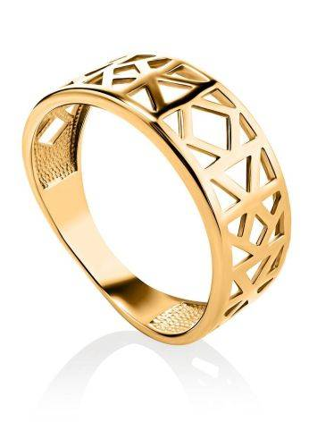 Geometric Gold Plated Ring, Ring Size: 6.5 / 17, image