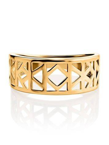 Geometric Gold Plated Ring, Ring Size: 6.5 / 17, image , picture 3