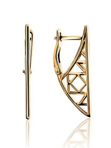Stylish Geometric Gold Plated Earrings, image