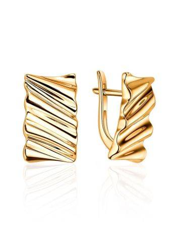 Textured Gold Plated Earrings, image
