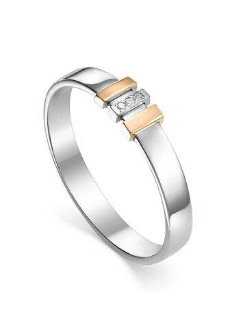 Silver Ring With Golden Details And Diamonds The Diva, Ring Size: 5.5 / 16, image