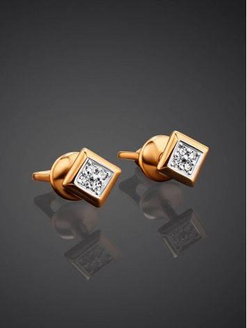 Square Gold Diamond Studs, image , picture 2