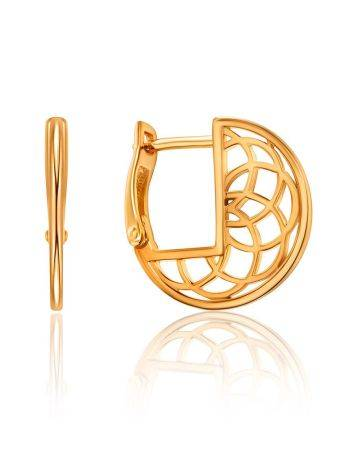 Laced Gold Plated Silver Round Earrings, image