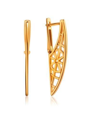 Designer Geometric Gold Plated Silver Earrings, image