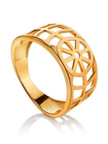 Geometric Gold Plated Silver Ring, Ring Size: 6.5 / 17, image