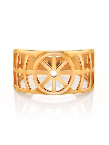 Geometric Gold Plated Silver Ring, Ring Size: 6.5 / 17, image , picture 3