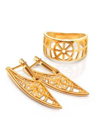 Designer Geometric Gold Plated Silver Earrings, image , picture 3