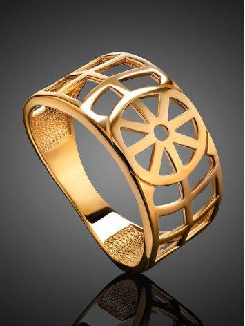 Geometric Gold Plated Silver Ring, Ring Size: 6.5 / 17, image , picture 2