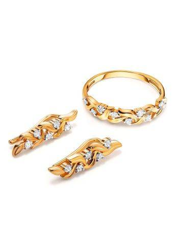 Refined Gold Plated Silver Earrings With Crystals, image , picture 3