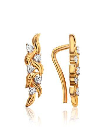 Refined Gold Plated Silver Earrings With Crystals, image