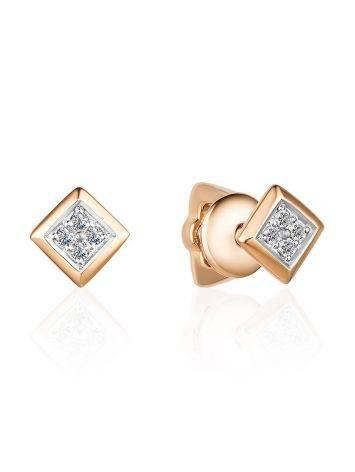 Square Gold Diamond Studs, image