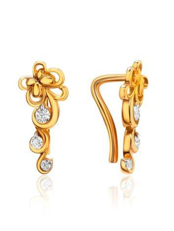Refined Gold Plated Silver Floral Earrings With Crystals, image