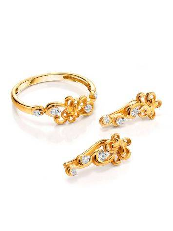 Refined Gold Plated Silver Floral Earrings With Crystals, image , picture 3