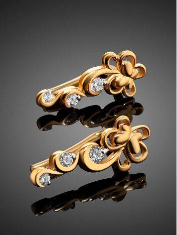 Refined Gold Plated Silver Floral Earrings With Crystals, image , picture 2
