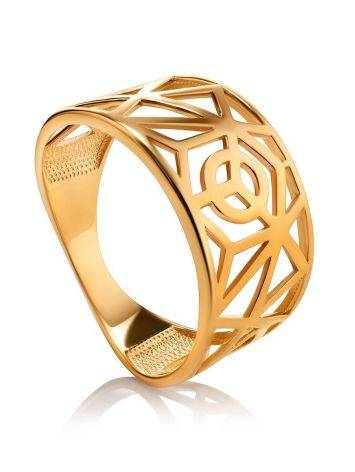 Designer Gold Plated Silver Band Ring, Ring Size: 7 / 17.5, image