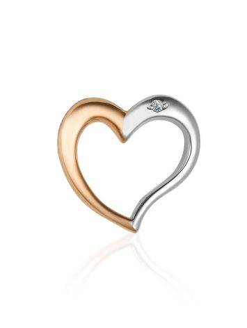 Golden Heart Shaped Pendant With Diamond, image