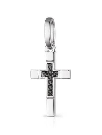 White Gold Cross Pendant With Black And White Diamonds, image