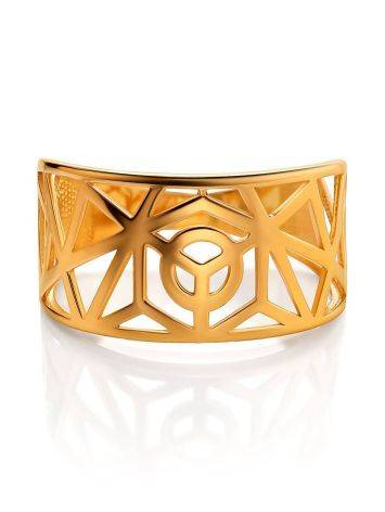 Designer Gold Plated Silver Band Ring, Ring Size: 7 / 17.5, image , picture 3