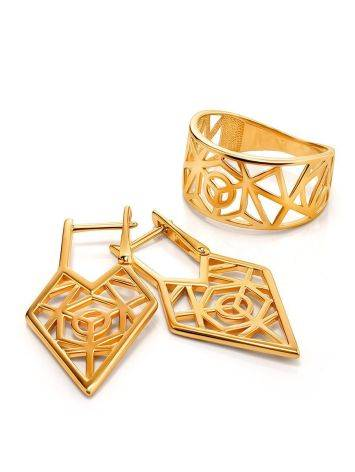Geometric Gold Plated Silver Earrings, image , picture 3