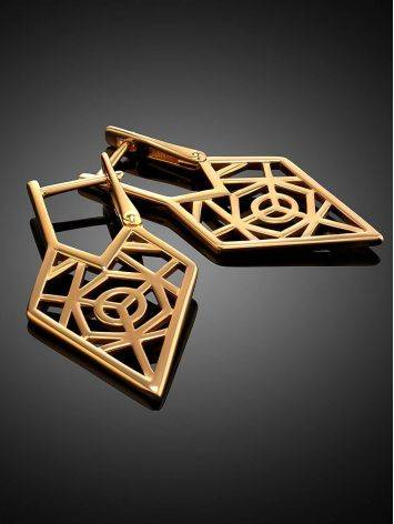 Geometric Gold Plated Silver Earrings, image , picture 2