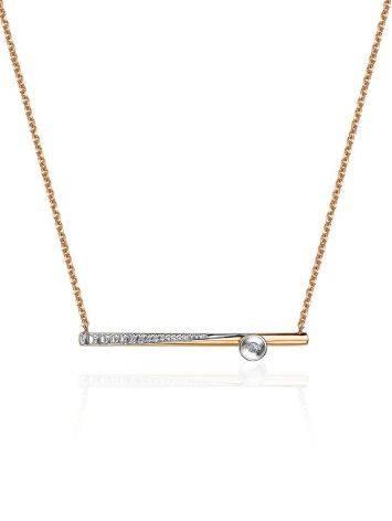 Golden Necklace With Diamond Crossbar Pendant, image