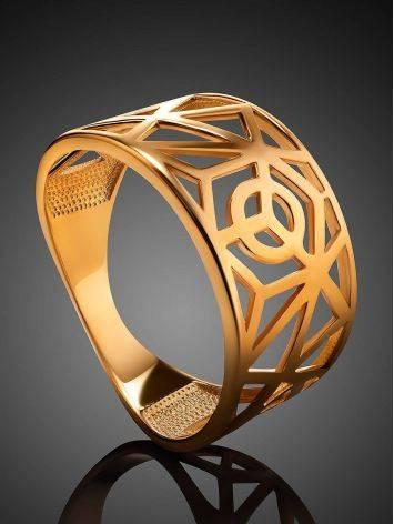 Designer Gold Plated Silver Band Ring, Ring Size: 7 / 17.5, image , picture 2